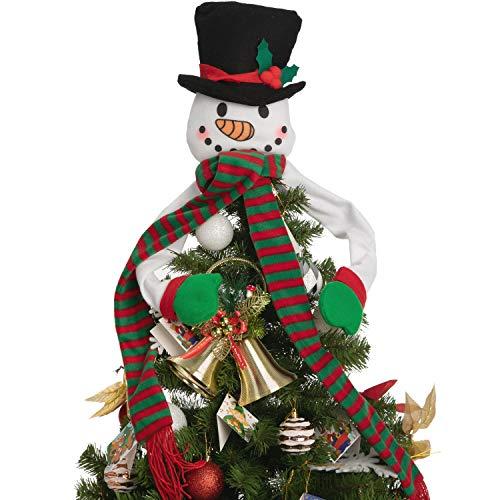 JOYIN Christmas Tree Topper Snowman Hugger Plush Made Snowman Head Tree Hugger, Xmas Ornaments for Christmas Tree Decorations