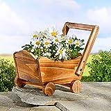 Spetebo Carrello per fiori in legno da piantare, 34 x 17 cm, per interni ed esterni
