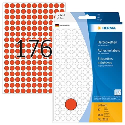 HERMA 2212 Vielzweck-Etiketten / Farbpunkte rund (Ø 8 mm, 32 Blatt, Papier, matt) selbstklebend, permanent haftende Markierungspunkte zur Handbeschriftung, 5.632 Klebepunkte, rot