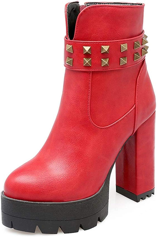 GIY Women's Platform Chunky High Ankle Boots Waterproof Round Toe Rivets Zipper Block Heeled Short Bootie