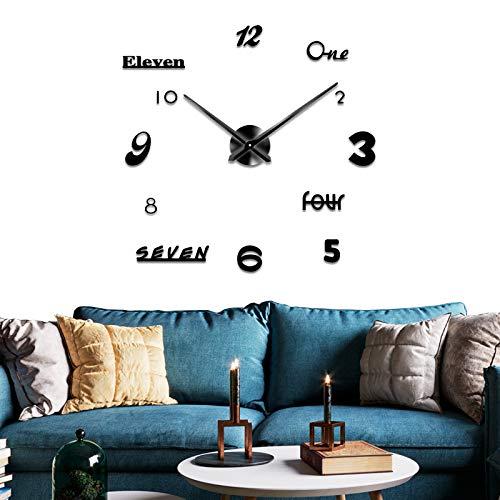 DIY Wall Clock Digital Creative Wall Clock NATO Style, Art Word Wall Clock, Suitable for Bedroom, Kitchen, Living Room (Black