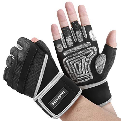 HOMPO Trainingshandschuhe für Herren und Damen,Fitness Handschuhe Gym Handschuhe mit Lange Adjustable Handgelenkstütze und Silica Gel Grip rutschfest für Gewichtheben Gym Training und Bodybuilding
