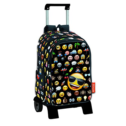Emoji Icon - Mochila de Bolsillos Intercambiables emoticonos con Carro extraíble Plegable