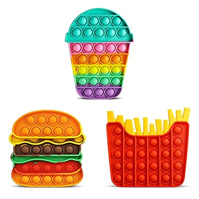 Aemotoy 3PCS Push Bubble Sensory Fidget Toys for Kids Adults Silicone Pop Rainbow Hamburger Squeeze Toy Stress Anxiety Relief Toys Novelty Gift for Autism ADD ADHD,Colorful Hamburger+Fries+Cup from Aemotoy