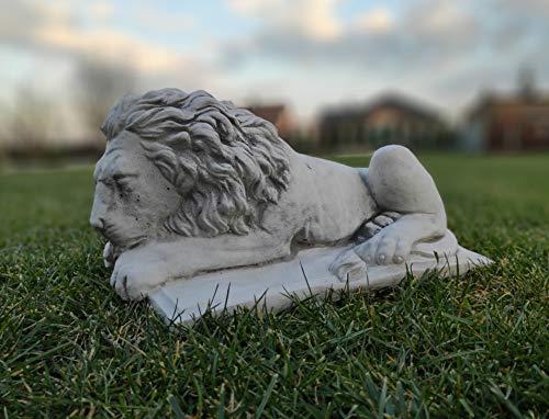 Green Lane Garden Adorno de jardín de Piedra/hormigón Estatua de león acostado 20 x 40 cm