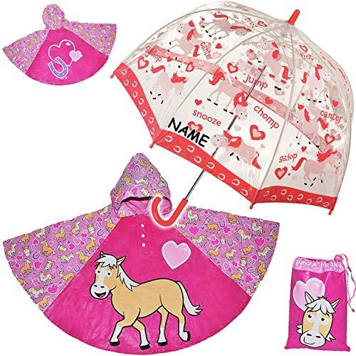 alles-meine.de GmbH Regenschirm + Regenponcho / Regencape -  Pferd & Herzen  - incl. Name - Gr. 104 - 128 / 3 bis 6 Jahre - Schirm Kinderregenschirm / Glockenschirm - Pferde - ..