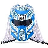 BQT Casco de motocicleta Predator de fibra de carbono, casco de cara completa, con lente antivaho, para hombres y mujeres, con luz, seguridad DOT, azul, XL