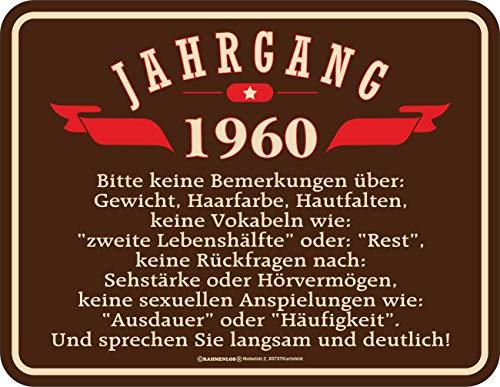 RAHMENLOS Deko Blechschild als Geschenk zum 60. Geburtstag Jahrgang 1960