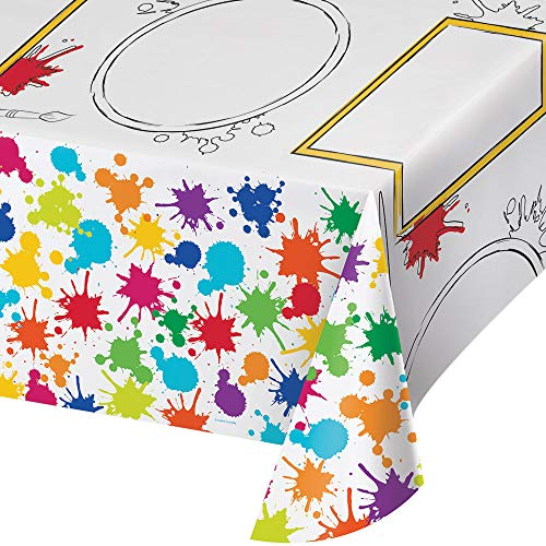 Art Party Dessert Plates Beverage Napkins Cups and Table Cover (Serves-16) with Birthday Candles - Art Party Paint Splatter Party Supplies Pack Deluxe (Bundle for 16)