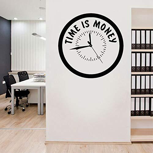 Calcomanía de pared con frase de inspiración, hora es dinero, estilo reloj, decoración de la pared