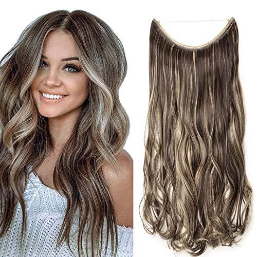 Haarteil Extensions Haarverlängerung ein Tresse mit Unsichtbarer Draht Haare Haarverdichtung Gewellt