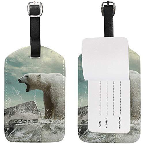 Etichetta portadocumenti per bagagli ruggito orso polare Etichetta in pelle per valigia bagaglio 2 pezzi