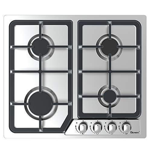 GIONIEN Built-in Gas Hob 4 Burners 60cm Cooktop Stainless Steel Cooker Hob with FFD and Enamel Pan Stands,Cast Iron Pan Support