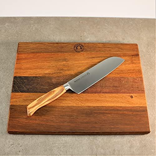 Palatina Werkstatt Cuchillo Santoku con mango de madera de olivo maciza, hoja de acero inoxidable de 16 cm y tabla de madera de 40 x 30 cm