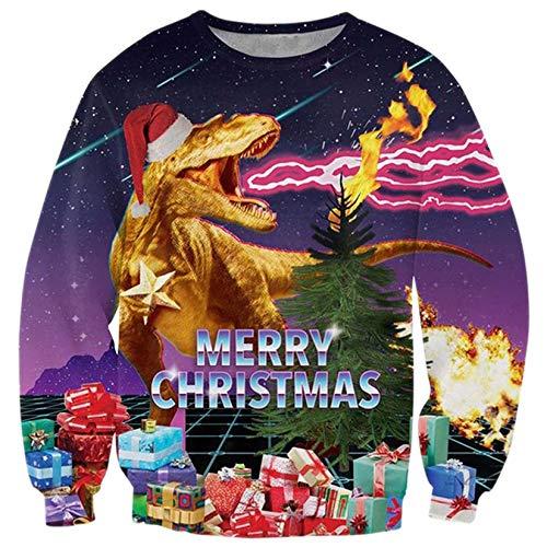 ALISISTER Hässliche Weihnachtspullover Herren Lustige Dinosaurier Gedruckt Ugly Christmas Sweater Langarm Xmas Pullover Sweatshirt Outfits Tops für Weihnachten Party S