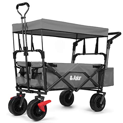 """AUKAR Heavy Duty Collapsible Folding Wagon Utility Outdoor Garden Cart with 7"""" All-Terrain Wheels Adjustable Push and Pull Handles for Shopping, Picnic, Beach, Camping, Sports (Grey)"""