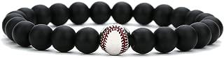 Fashion Alloy Baseball Bangle 8MM Onyx Lava Rock Beads Bracelet