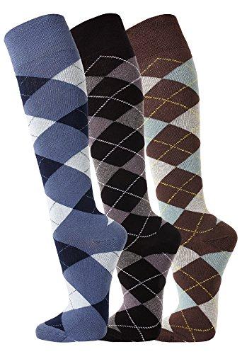 TippTexx24 3 Paar Reiterkniestrümpfe in modischen Karo Mustern (35/38-3 Paar, Jeans/Anthrazit/Ozean)