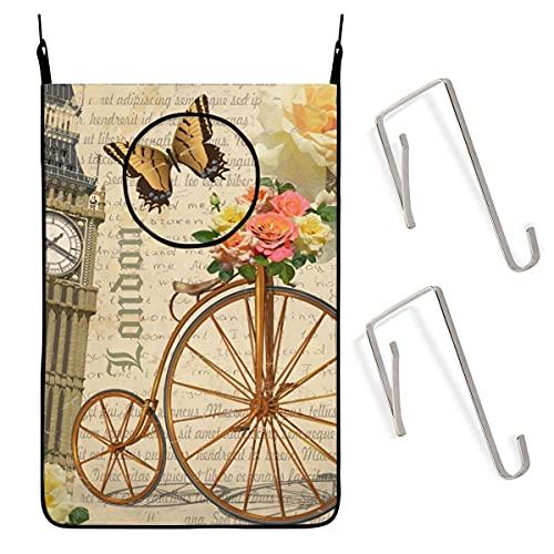 N\A London con Big Ben Roses Cesta de lavandería para Colgar en Bicicleta Bolsa para Ropa Sucia Cesta de lavandería Grande con Ganchos para baño y Dormitorio