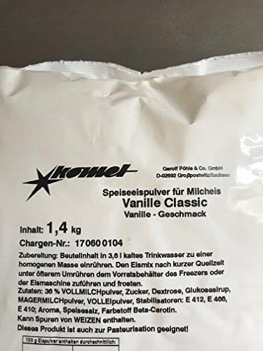 Komet Vanille 1,4 Kg Eispulver Softeispulver Speiseeispulver Eismaschine Preis pro 1Kg = 9.28€