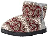 Dearfoams Women's Fairisle and Solid Chenille Knit Boot Slipper, French Taupe, Small Standard US Width US