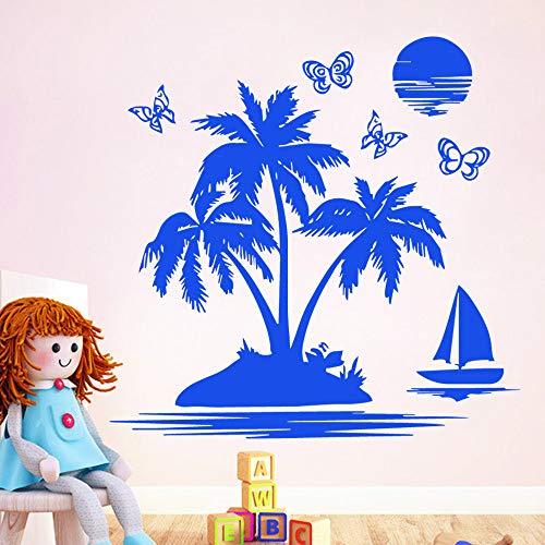zqyjhkou Carven Kokospalme Sonnenaufgang Vinyl Tapete Für Zuhause Haus Wohnzimmer Schlafzimmer Wand-dekor Aufkleber Wandbild Po95x125cm