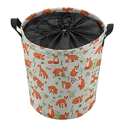 Cubo de almacenamiento impermeable grande organizador ligero cesta para la colada, cubos de juguete, cestas de regalo, ropa sucia, dormitorio de niños, baño rojo zorro