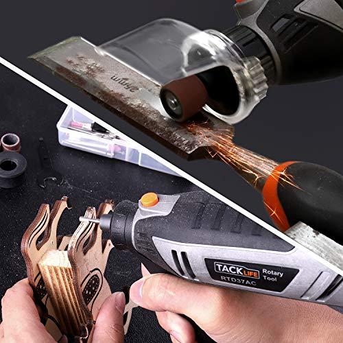 TACKLIFEミニルーター180WLCD表示無段変速67PCS彫刻/削り出し/研磨/切断/切削/汚れ落とし保護カバー補助ハンドル最新版フレックスシャフト収納ケース付きRTD37AC