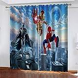 Meer 2er-Set Verdunkelungs Vorhang,Iron Man Spiderman Batman Kinder Gardinen Ösen Gardine Thermo Polyester Schlafzimmer Vorhänge Dekoratives Muster Européen 166 x 150 cm (HxB)