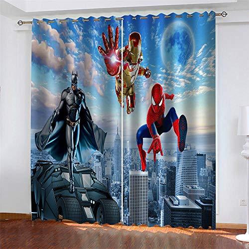 Meer 2er-Set Verdunkelungs Vorhang,Iron Man Spiderman Batman Kinder Gardinen Ösen Gardine Thermo Polyester Schlafzimmer Vorhänge Dekoratives Muster Européen 214 x 183 cm (HxB)
