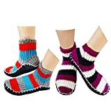 Krystle Unisex Woollen Winter Warm Soft Hand-made Knitted Ankle Length Slipper Socks (Assorted Colour)-(Pack of 02)