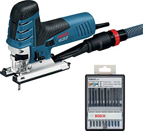 Bosch 0601512000 GST 150CE Seghetto, (780 Watt, profondità di Taglio Max. Legno: 150 mm, in Custodia), W + 2607010542 Set 10 Lame Seghetto Robust Line Legno/Metallo