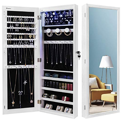 Nicetree 6 LEDs Jewelry Armoire Organizer, Wall/Door Mounted Jewelry Cabinet with Full Length Mirror, Larger Capacity, Dressing Mirror, White