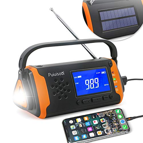 Emergency-Radio with NOAA Weather Alert, 4000mah Hand Crank Portable Solar Survival Radios with Aux,Electronic Display,AM/FM,SOS Alarm,Led Flashlight,Phone Charging,Battery Backup (Orange)