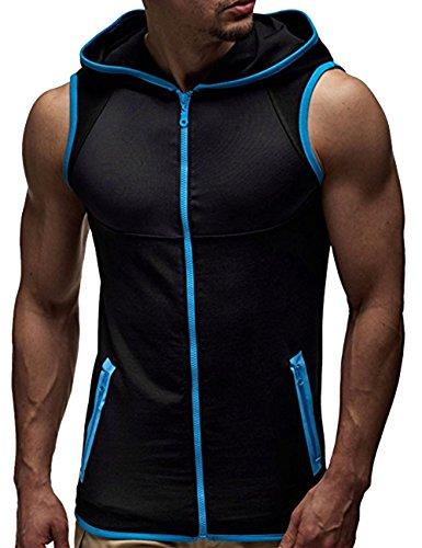 Somhron - Sudadera deportiva hombre sin mangas cremallera