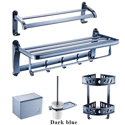 JVCAN Juego de herrajes para baño Accesorio de baño de Aluminio Toalla Estante Toallero Barra Soporte de Papel Portaescobillas de Inodoro-Azul Oscuro