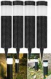 Mtawou 4 Stück Dekoration LED Licht SolarlampePfahl Wegbeleuchtun Gartenleuchten Außenleuchte Wasserdichte Solarlampe Rattan zylindrisch Für Außengarten Patio Rasen