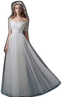 Long Evening Prom Dress Women's One-Shouldered A-Lined Tail Wedding Dress (Color : White, Size : :US4)