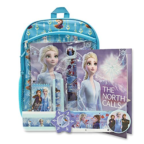 Disney Frozen Backpack Combo Set - Frozen 2 Anna & Elsa 7 Piece Backpack and Stationary Set