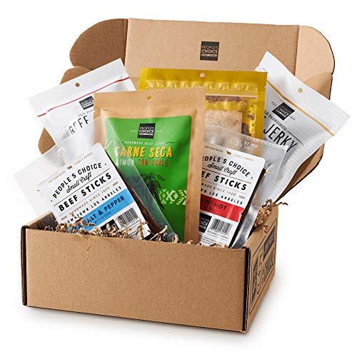 People's Choice Beef Jerky - Jerky Box - Health Nut - Keto Gift - Sugar-Free, Carb-Free, Gluten-Free, High Protein, Keto-Friendly - Meat Snack Sampler Gift Basket - 6 Items