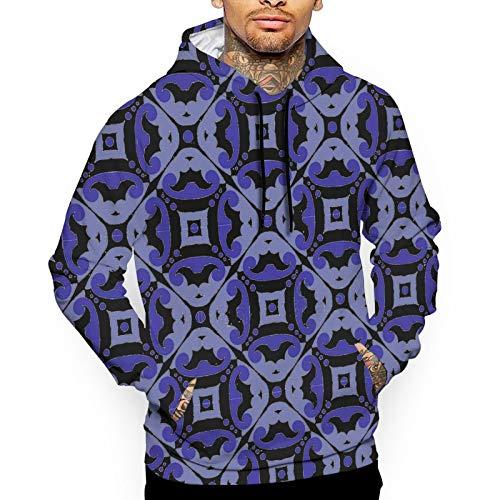YUYUYU Victorian Vintage Blue White Purple Tile Pattern Men's Outdoor Hooded Sweatshirt Thermal Winterwear Pullover