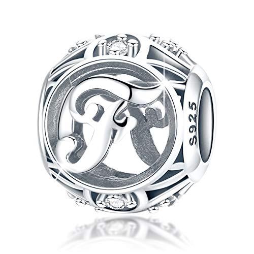 FOREVER QUEEN Alphabet Buchstabe F Charm Bead mit klaren Zirkonia kompatibel für europäische Armbänder 925 Silber Sterling Charm Anhänger,BJ09121-F MEHRWEG