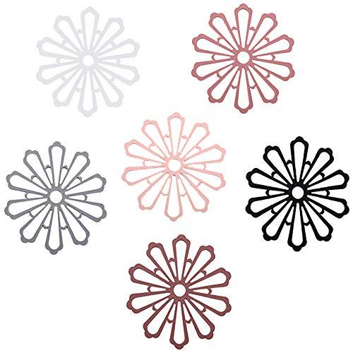 Set di 6 sottobicchieri di design per bevande, diametro di 15,5 cm, tazze, bar, vetro, tazze, tappetino antiscivolo isolato, in silicone, The premium (multicolore)