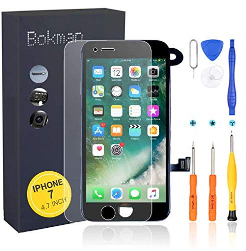 Bokman Schermo Display LCD per iPhone 7 Nero Sostituzione dello Schermo con Fotocamera, Sensore Flex e Strumenti di Riparazione
