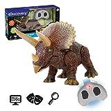 Discovery- Triceratops, Color marrón (Mide 25,5 cm de Largo e Incluye un Mando inalámbrico Infrarrojos.)