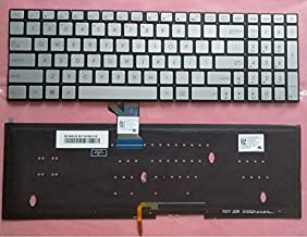 Replacement Backlit Keyboard Without Frame For ASUS UX501 UX501J UX501JW UX501V UX501VW N541L N541LA Q501L Q501LA N501 UX52, US Layout Silive Color