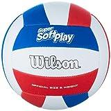 Wilson WTH90219XB Pelota de Voleibol Super Soft Play Cuero sintético Interior y Exterior, Unisex-Adult, Blanco/Rojo/Azul, Tamaño Oficial