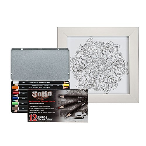 Soho Urban Artist Framed Coloring Kit with Vibrant 12 Count Colored Pencil Tin and Metal Picture Frame [Set] - Paisley Mandala Design