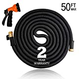 "[2019 Model] 50ft Non-Kink Expandable Garden Hose, 8-Pattern Spray Nozzle Included, 3/4"" Brass Fittings with Shutoff Valve, Best 50' Foot Garden Hose"