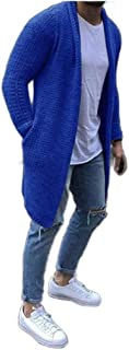 Howely Men Cardigan Solid-Colored Long-Sleeve Big & Tall Knit Pea Coat